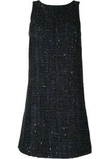 Emporio Armani Vestido Reto De Tweed - Azul