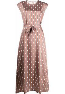 Peserico Vestido Longo Mangas Curtas Com Estampa Geométrica - Marrom