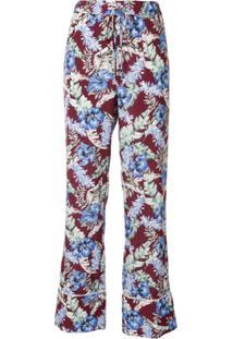 Ports 1961 Calça Jeans Reta Com Estampa Floral - Vermelho