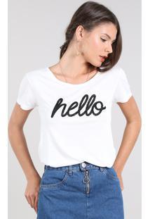 "Blusa Feminina ""Hello"" Com Brilho Manga Curta Decote Redondo Off White"