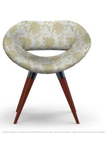 Poltrona Beijo Bege Floral Cadeira Decorativa Com Base Fixa