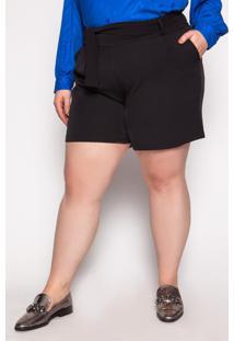 Shorts Almaria Plus Size Kayla Amora Liso Preto