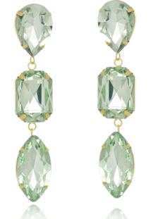 Brinco Le Diamond Cristais Verde Turmalina