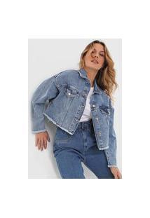 Jaqueta Jeans Triton Recortes Azul