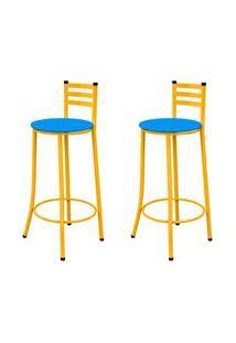 Kit 02 Banquetas Altas Com Encosto Amarelo E Assento Azul - Marcheli