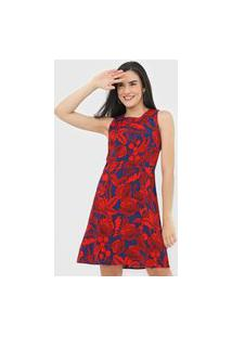 Vestido Desigual Curto Wels Vermelho/Azul