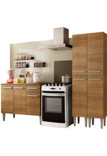 Cozinha Compacta Madesa Emilly Front Com Balcã£O E Paneleiro Marrom - Marrom - Dafiti