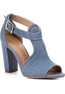 Sandália Shoestock Sandal Jeans Feminina - Feminino-Jeans