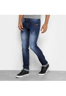 Calça Jeans Skinny Rock & Soda Estonada Puídos Masculina - Masculino