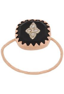 Pascale Monvoisin 9Kt Rose Gold Pierrot Black Ring - Dourado