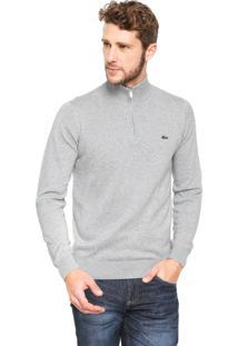 Suéter Lacoste Regular Fit Tricot Logo Cinza