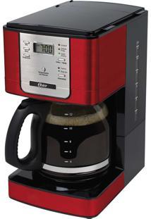 Cafeteira Elétrica Flavor Vermelha Oster -Programável, 36 Xícaras, Seletor De Intensidade De Pó, Filtro Removível, Mantém O Café Aquecido Por 2 Horas