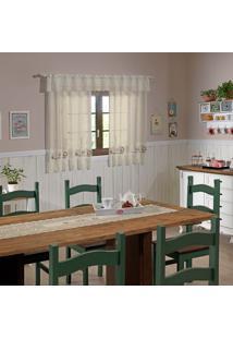 Cortina Valencia Marfim Cafe Marfim 2,00M X 1,20M X 20Cm ÚNico - Multicolorido - Dafiti