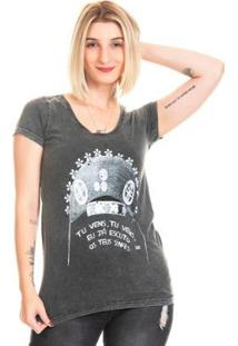 Camiseta Estonada Bloom Valença Useliverpool Feminina - Feminino-Preto
