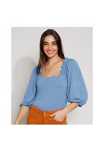 Blusa Feminina Manga Bufante Decote Reto Azul