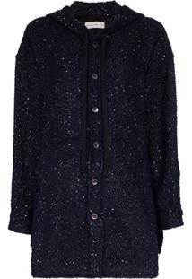 Faith Connexion Hooded Button-Up Sequin Jacket - Azul