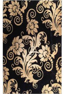 Tapete Marbella Floral Preto 198X250 Cm Rayza