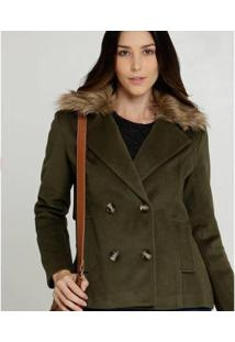 Casaco Marisa Trench Coat Pelúcia Feminino - Feminino-Verde