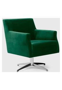 Poltrona Diva Verde Esmeralda Giratória Alumínio Domi