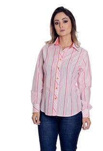 Camisa Pimenta Rosada Kayla Listrada Branco/Rosa