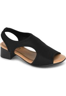 Sandália Comfortflex Salto Baixo Lycra - Feminino