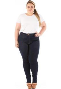 Calça Jeans Skinny Bolso Faca Plus Size Feminina - Feminino-Azul