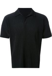Homme Plissé Issey Miyake Camisa Polo Plissada - Preto