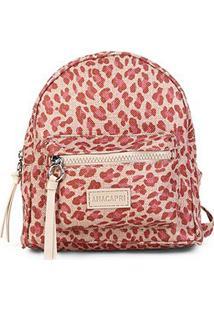 Bolsa Anacapri Mini Bag Med Lona Animal Print Onça Feminina - Feminino-Rosa