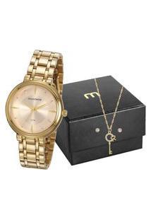 Kit De Relógio Analógico Mondaine Feminino + Brinco + Colar- 76758Lpmvde2K2 Dourado