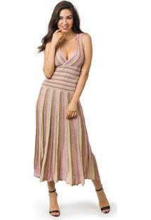 Vestido Pink Tricot Longo Plissado Listrado Feminino - Feminino-Lilás