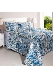 Kit Cobreleito Colcha Queen Rozac Patchwork Bouti Flora Azul