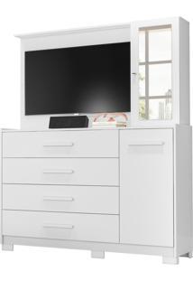 Comoda/Painel De Tv Ilhabela 4 Gavetas Branco Fosco Liso Albatroz - Branco - Dafiti