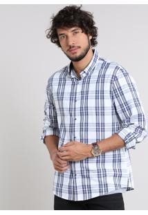 Camisa Masculina Comfort Estampada Xadrez Manga Longa Off White