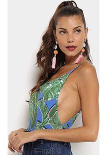 Body Flora Zuu Estampa Folhagem Abertura Lateral Feminino - Feminino-Verde+Azul
