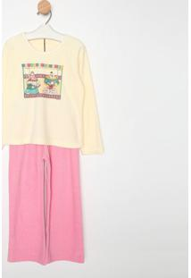 Pijama Manga Longa & Calã§A- Amarelo Claro & Rosasonhart