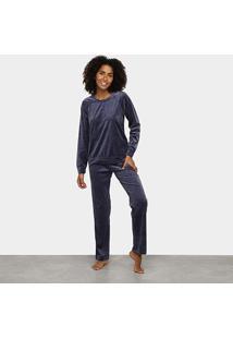 Pijama Longo Hering Básico Feminino - Feminino-Azul Escuro