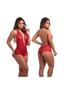 Body Rendado Com Decote Sensual Vermelho Diário Íntimo
