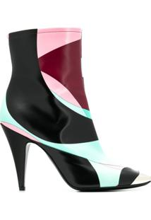 Emilio Pucci Ankle Boot Color Block - Preto