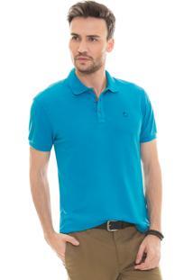 Camisa Polo Olimpo Camisaria Piquet Com Elastano Manga Curta Azul Turquesa