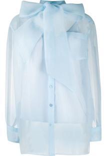 Tory Burch Blusa Com Fechamento Por Laço - Azul