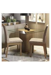 Conjunto Sala De Jantar Madesa Rosi Mesa Tampo De Vidro Com 2 Cadeiras Rustic/Fendi