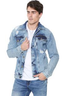 Jaqueta Jeans Rock&Soda Destroyed Azul