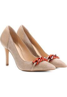 Scarpin Couro Shoestock Salto Alto Corrente Resina