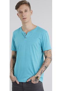 Camiseta Masculina Básica Com Botões Verde Água
