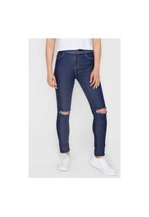 Calça Jeans Planet Girls Skinny Destroyed Azul-Marinho