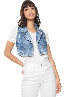 Colete Cropped Jeans #Mo Acid Azul