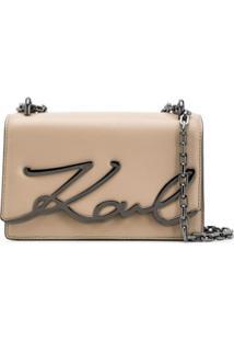 Karl Lagerfeld Bolsa Tiracolo K/Signature Pequena - Neutro