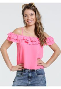 Blusa Feminina Open Shoulder Babado Marisa