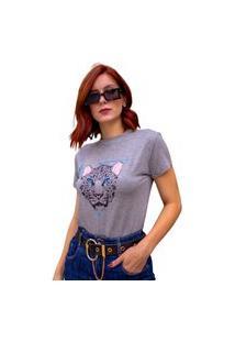 Blusa T-Shirt Camiseta Feminina Estampada - Oncinha - Cinza