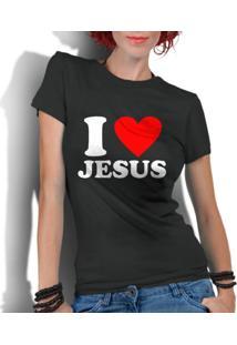 Camiseta Criativa Urbana I Love Amo Jesus Gospel Religiosas Preto